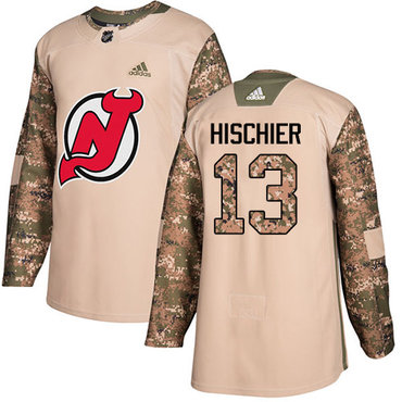 Adidas Devils #13 Nico Hischier Camo Authentic 2017 Veterans Day Stitched NHL Jersey