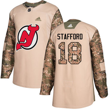 Adidas Devils #18 Drew Stafford Camo Authentic 2017 Veterans Day Stitched NHL Jersey