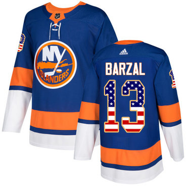 Adidas Islanders #13 Mathew Barzal Royal Blue Home Authentic USA Flag Stitched NHL Jersey