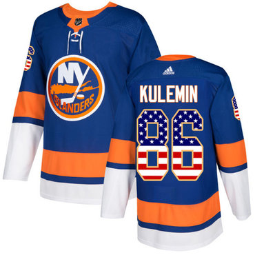 Adidas Islanders #86 Nikolay Kulemin Royal Blue Home Authentic USA Flag Stitched NHL Jersey
