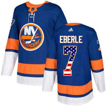 Adidas Islanders #7 Jordan Eberle Royal Blue Home Authentic USA Flag Stitched NHL Jersey