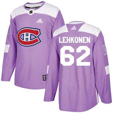 Adidas Canadiens #62 Artturi Lehkonen Purple Authentic Fights Cancer Stitched NHL Jersey