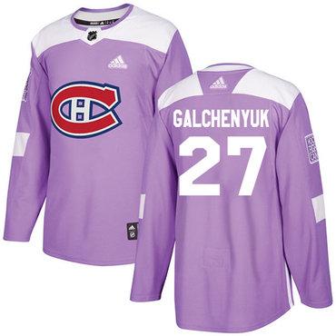 Adidas Canadiens #27 Alex Galchenyuk Purple Authentic Fights Cancer Stitched NHL Jersey
