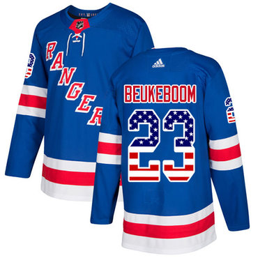 Adidas Rangers #23 Jeff Beukeboom Royal Blue Home Authentic USA Flag Stitched NHL Jersey