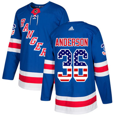 Adidas Rangers #36 Glenn Anderson Royal Blue Home Authentic USA Flag Stitched NHL Jersey