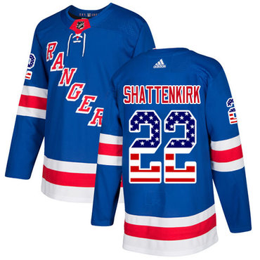 Adidas Rangers #22 Kevin Shattenkirk Royal Blue Home Authentic USA Flag Stitched NHL Jersey