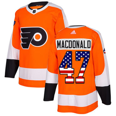 Adidas Flyers #47 Andrew MacDonald Orange Home Authentic USA Flag Stitched NHL Jersey