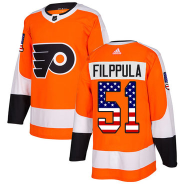 Adidas Flyers #51 Valtteri Filppula Orange Home Authentic USA Flag Stitched NHL Jersey