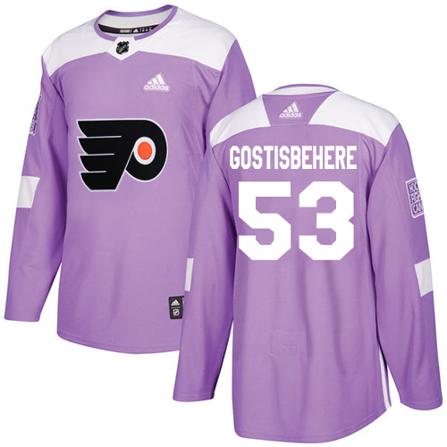Adidas Flyers #53 Shayne Gostisbehere Purple Authentic Fights Cancer Stitched NHL Jersey