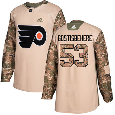 Adidas Flyers #53 Shayne Gostisbehere Camo Authentic 2017 Veterans Day Stitched NHL Jersey