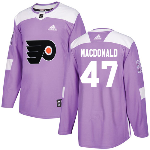 Adidas Flyers #47 Andrew MacDonald Purple Authentic Fights Cancer Stitched NHL Jersey