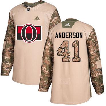 Adidas Senators #41 Craig Anderson Camo Authentic 2017 Veterans Day Stitched NHL Jersey