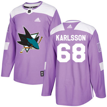Adidas Sharks #68 Melker Karlsson Purple Authentic Fights Cancer Stitched NHL Jersey
