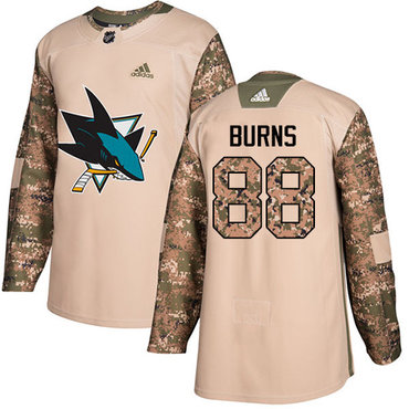 Adidas Sharks #88 Brent Burns Camo Authentic 2017 Veterans Day Stitched NHL Jersey