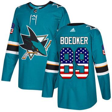 Adidas Sharks #89 Mikkel Boedker Teal Home Authentic USA Flag Stitched NHL Jersey