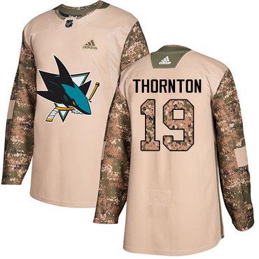Adidas Sharks #19 Joe Thornton Camo Authentic 2017 Veterans Day Stitched NHL Jersey