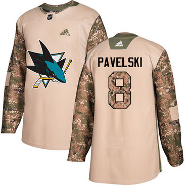 Adidas Sharks #8 Joe Pavelski Camo Authentic 2017 Veterans Day Stitched NHL Jersey