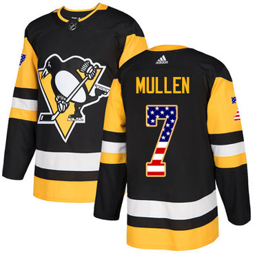 Adidas Penguins #7 Joe Mullen Black Home Authentic USA Flag Stitched NHL Jersey