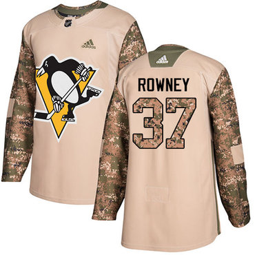 Adidas Penguins #37 Carter Rowney Camo Authentic 2017 Veterans Day Stitched NHL Jersey