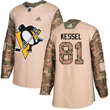 Adidas Penguins #81 Phil Kessel Camo Authentic 2017 Veterans Day Stitched NHL Jersey