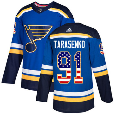 Adidas Blues #91 Vladimir Tarasenko Blue Home Authentic USA Flag Stitched NHL Jersey
