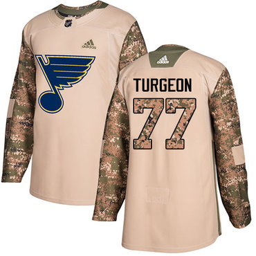 Adidas Blues #77 Pierre Turgeon Camo Authentic 2017 Veterans Day Stitched NHL Jersey