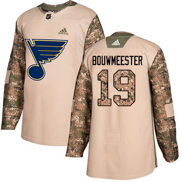 Adidas Blues #19 Jay Bouwmeester Camo Authentic 2017 Veterans Day Stitched NHL Jersey
