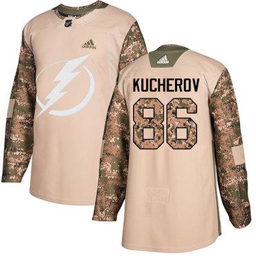 Adidas Lightning #86 Nikita Kucherov Camo Authentic 2017 Veterans Day Stitched NHL Jersey