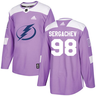 Adidas Lightning #98 Mikhail Sergachev Purple Authentic Fights Cancer Stitched NHL Jersey