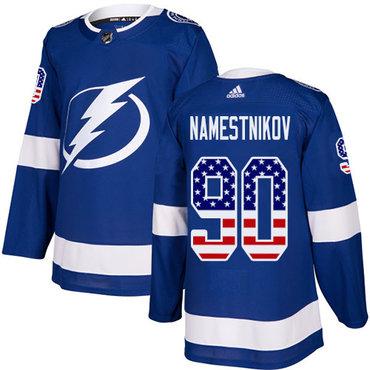 Adidas Lightning #90 Vladislav Namestnikov Blue Home Authentic USA Flag Stitched NHL Jersey