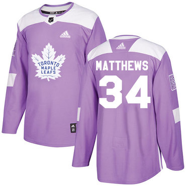 Adidas Maple Leafs #34 Auston Matthews Purple Authentic Fights Cancer Stitched NHL Jersey