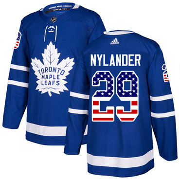 Adidas Maple Leafs #29 William Nylander Blue Home Authentic USA Flag Stitched NHL Jersey