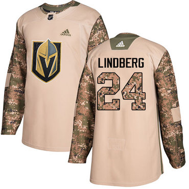 Adidas Golden Knights #24 Oscar Lindberg Camo Authentic 2017 Veterans Day Stitched NHL Jersey