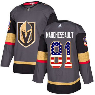 Adidas Golden Knights #81 Jonathan Marchessault Grey Home Authentic USA Flag Stitched NHL Jersey
