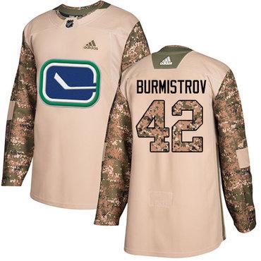 Adidas Canucks #42 Alex Burmistrov Camo Authentic 2017 Veterans Day Stitched NHL Jersey