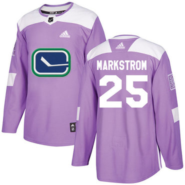 Adidas Canucks #25 Jacob Markstrom Purple Authentic Fights Cancer Stitched NHL Jersey