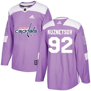 Adidas Capitals #92 Evgeny Kuznetsov Purple Authentic Fights Cancer Stitched NHL Jersey