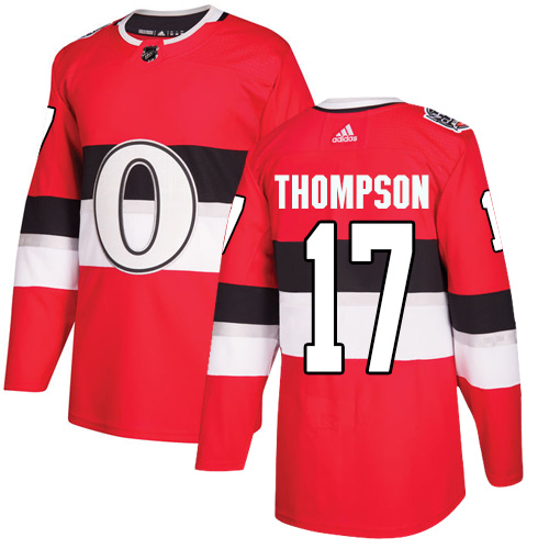 Adidas Senators #17 Nate Thompson Red Authentic 2017 100 Classic Stitched NHL Jersey