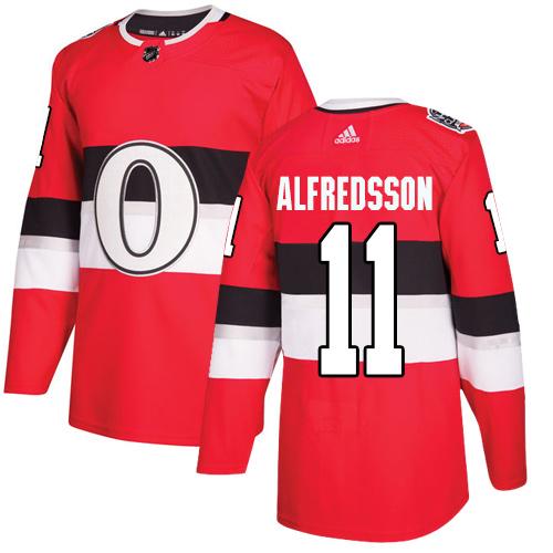 Adidas Senators #11 Daniel Alfredsson Red Authentic 2017 100 Classic Stitched NHL Jersey