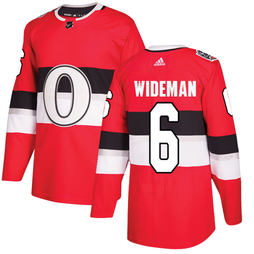 Adidas Senators #6 Chris Wideman Red Authentic 2017 100 Classic Stitched NHL Jersey