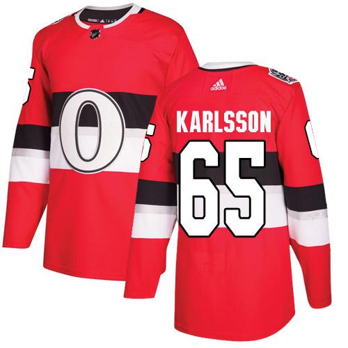 Adidas Senators #65 Erik Karlsson Red Authentic 2017 100 Classic Stitched NHL Jersey