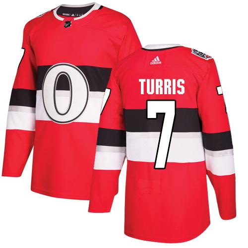 Adidas Senators #7 Kyle Turris Red Authentic 2017 100 Classic Stitched NHL Jersey