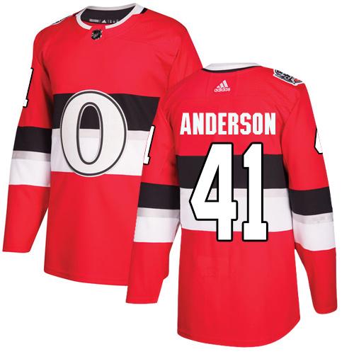 Adidas Senators #41 Craig Anderson Red Authentic 2017 100 Classic Stitched NHL Jersey