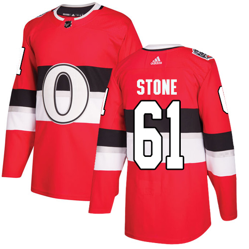 Adidas Senators #61 Mark Stone Red Authentic 2017 100 Classic Stitched NHL Jersey