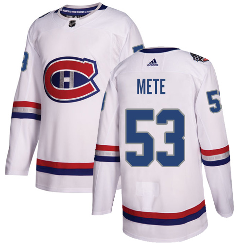 Adidas Canadiens #53 Victor Mete White Authentic 2017 100 Classic Stitched NHL Jersey