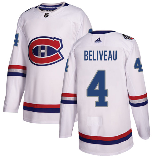 Adidas Canadiens #4 Jean Beliveau White Authentic 2017 100 Classic Stitched NHL Jersey