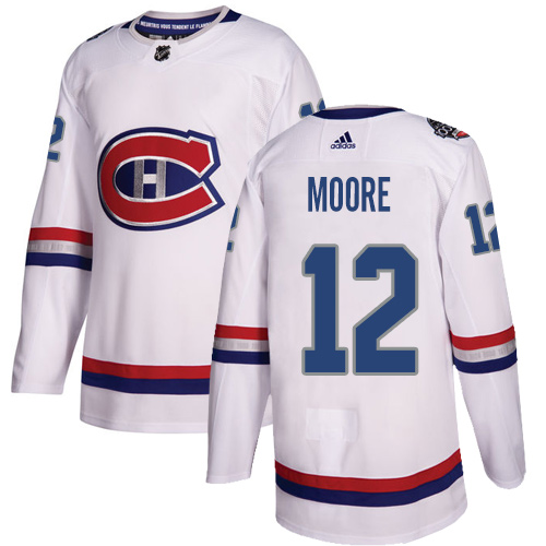 Adidas Canadiens #12 Dickie Moore White Authentic 2017 100 Classic Stitched NHL Jersey