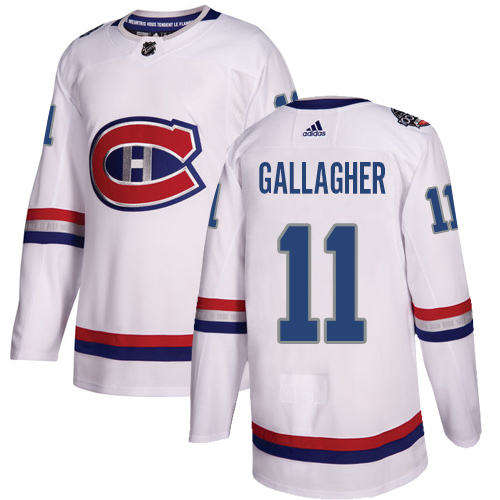 Adidas Canadiens #11 Brendan Gallagher White Authentic 2017 100 Classic Stitched NHL Jersey