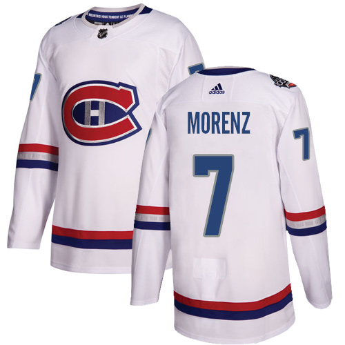 Adidas Canadiens #7 Howie Morenz White Authentic 2017 100 Classic Stitched NHL Jersey
