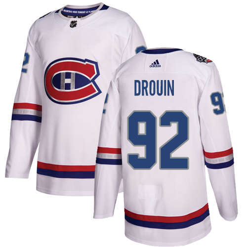 Adidas Canadiens #92 Jonathan Drouin White Authentic 2017 100 Classic Stitched NHL Jersey
